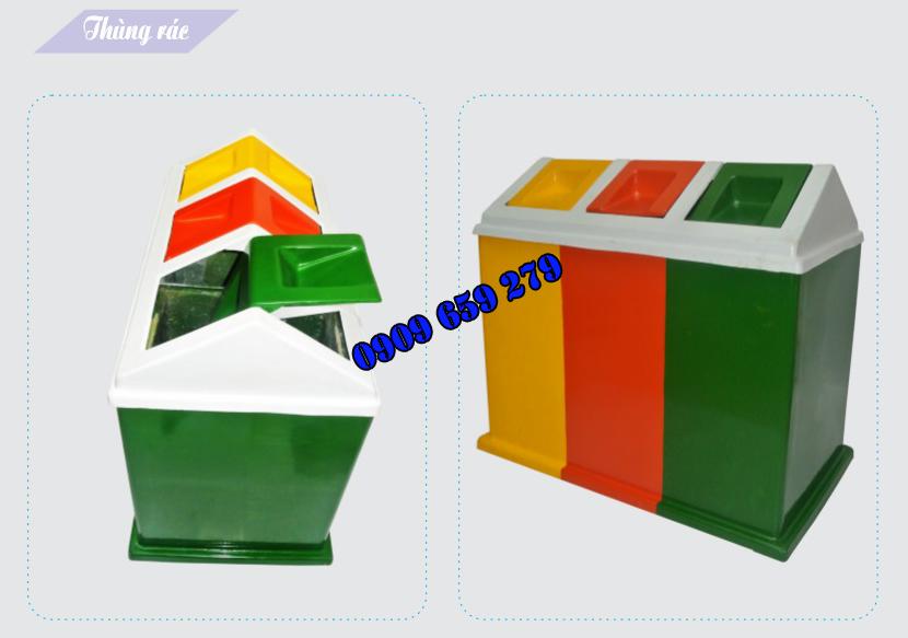 Thùng đựng rác 3 ngăn composite GreenEco - TĐR108 (Ảnh 2)