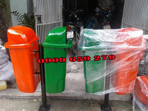 Thùng rác nhựa treo đôi HDPE 60lít GreenEco - TRN109 (Ảnh 2)