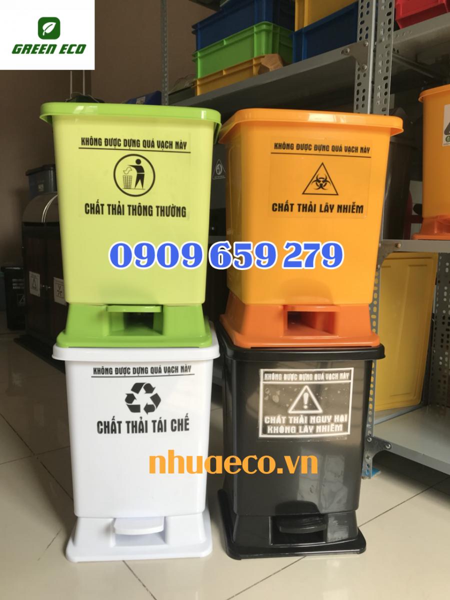 Thùng rác y tế đạp chân 30 Lít Composite GreenEco - TRYT186 (Ảnh 3)